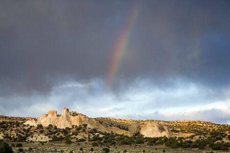 Rainbow over a southwest desert