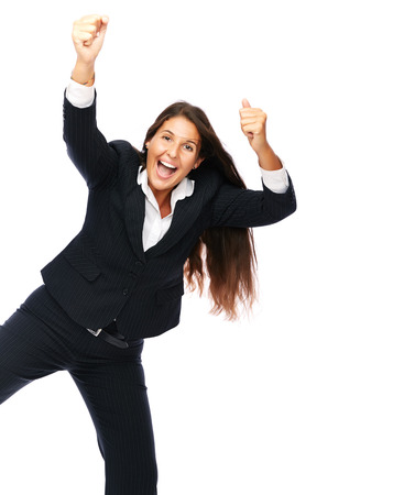 Business woman is jumping excited.   Isolated on a white background. photo