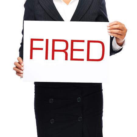 job posting: Business woman holding fired sing in hands. Isolated on a white background.  Stock Photo