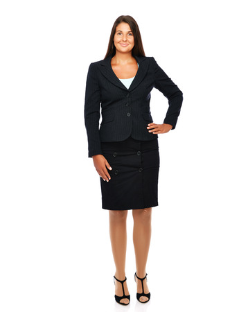 Business woman standing full legth with empty copy space.   Isolated on a white background.  photo