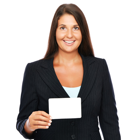 Business woman holding business card.  Isolated on a white background.  More of her - click here: photo