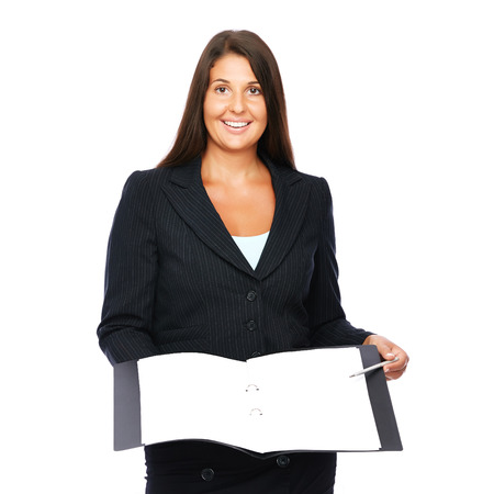 Real estate agent or businesswoman showing blank documents, ready for sign.    Isolated on a white background.   photo