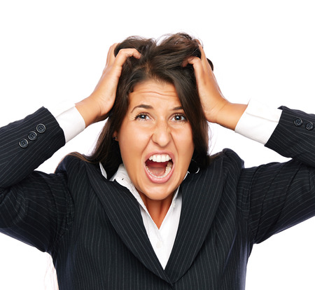 expressing negativity: Business woman angry and stressed is frustrated.   Isolated on a white background.  Stock Photo