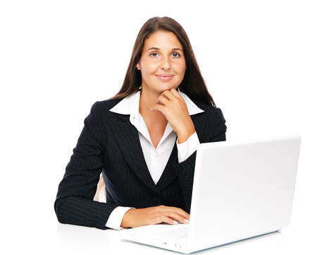 real estate background: Business woman working on her laptop smiling looking to camera   Isolated on a white background. Stock Photo