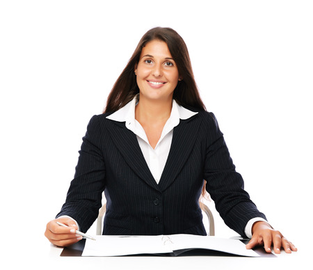 Business woman showing blank notebook copy space with pen.   Isolated on a white background. photo