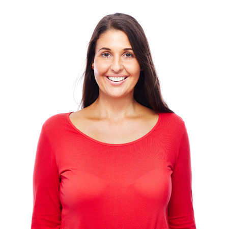 Beautiful young Woman Wearing red smiling looking into camera isolated on White