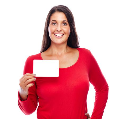 notecard: Young female Wearing red holding an empty Blank notecard isolated on White