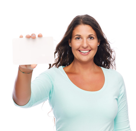 Young female Smiling holding blank card photo