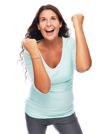Modern Young amazed female Celebrating She is a Winner photo