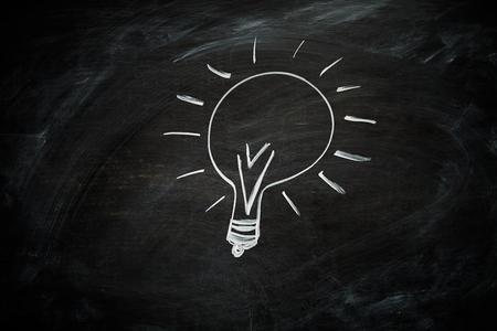 A lightbulb hand drawn on a blackboard with white chalk photo