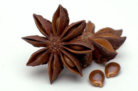 christmas scent: Star anise isolated before weiem background