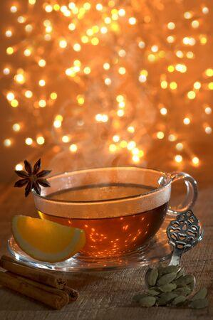 christmas tea: Hot spice tea with cinnamon, orange, cardamom and star anise