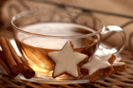 macroshot: Hot tea with cinnamon stars for cold days