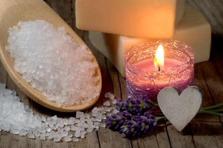 macroshot: Natural spa setting with bath salt and candle