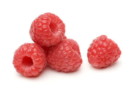 exempted: Fresh raspberries isolated on white