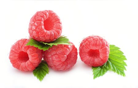 exempted: Macro shot fresh raspberries and leaves isolated Stock Photo