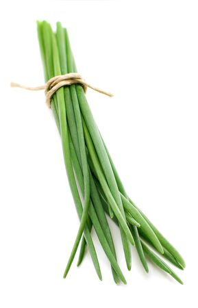cebollin: Bunch chives isolated on white background Foto de archivo