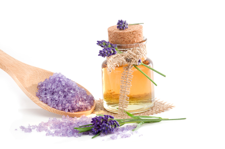 bath: Spa still life with lavender bath salt and essential oil isolated