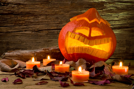 jack o' lantern: Halloween pumpkin scary Jack o Lantern Copyspace