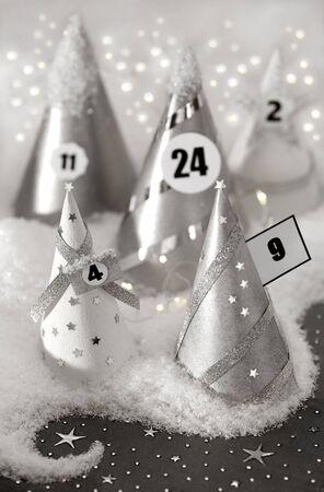 Festive Advent calendar with lights and snow