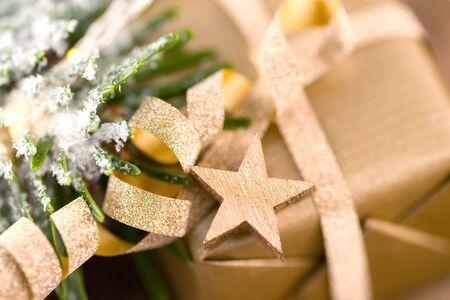 Christmas present with golden star Stok Fotoğraf