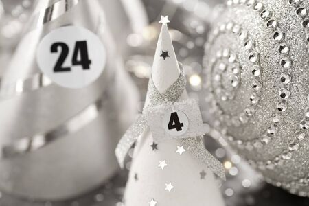 Advent calendar in silver and white