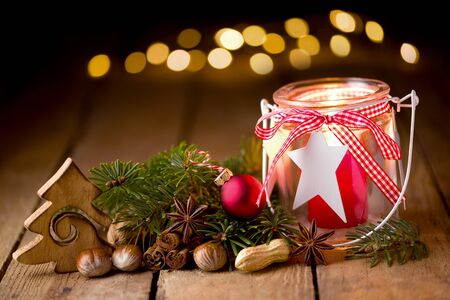 Christmas decoration with candle and lights