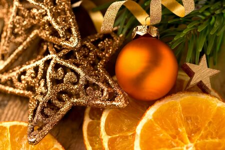 Christmas decoration with golden stars