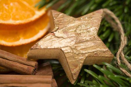 Christmas decoration wooden star Stok Fotoğraf
