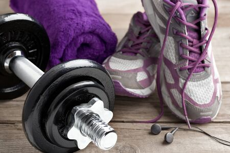 Fitness equipment on wood