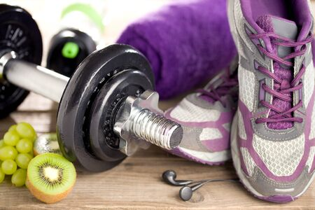 Fitness equipment and healthy food Stok Fotoğraf