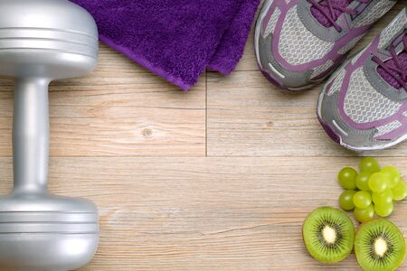fitness equipment and healthy fruits
