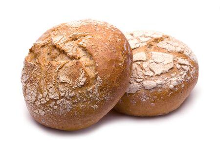 Fresh rye rolls isolated on white