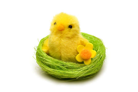 Cute Easter chick isolated on white