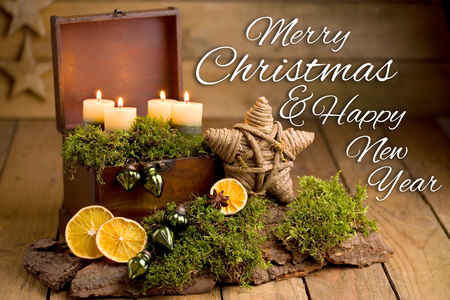 Christmas arrangement with candles and lettering - Merry Christmas & Happy New Year Stok Fotoğraf - 91289349