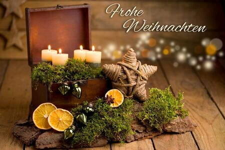 Festive Christmas greetings with lettering (German for Merry Christmas) Stok Fotoğraf