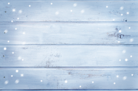 Wooden background - light blue with snowflakes Stok Fotoğraf - 91864040