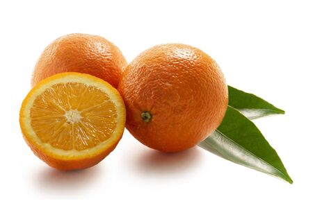 Oranges with leaf isolated