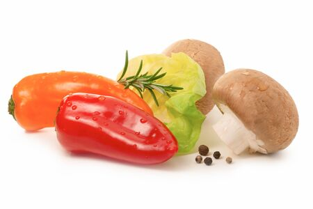 Fresh salad ingredients isolated - mini bell pepper, lettuce, mushrooms and spices Stok Fotoğraf