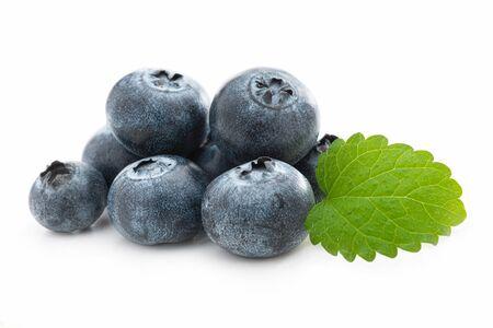 Fresh blueberries and lemon balm isolated against white backgound  免版税图像