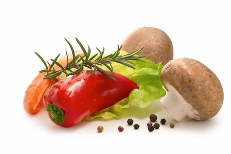 Fresh salad ingredients isolated - mini bell peppers, lettuce, mushrooms and spices Stok Fotoğraf