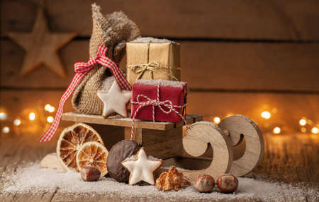 Christmas greetings - sligh with gifts and copyspace Stok Fotoğraf