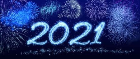 New Year's Eve 2021 - sparkling year date with fireworks