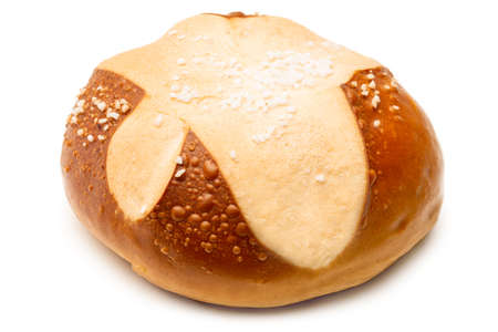 Pretzel roll isolated against white background - close-up