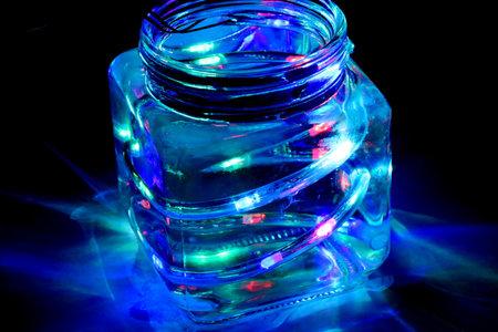 Jar light with immersed RGB Led strip. Mason RGB LED Jar lights used in decorations
