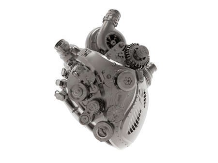 Mechanical bionic heart engine, 3D Illustration