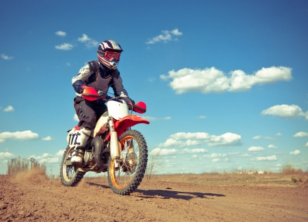 Spring motocross competition Stock Photo