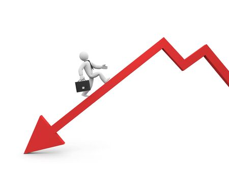 overcome: The businessman overcome financial crisis. Business in action, concept. Stock Photo