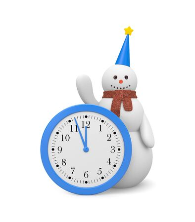 Snowman with clock photo