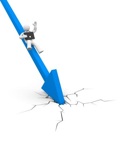 crisis economica: Crisis financiera mundial. Cae el empresario. Negocios en acci�n, concepto.